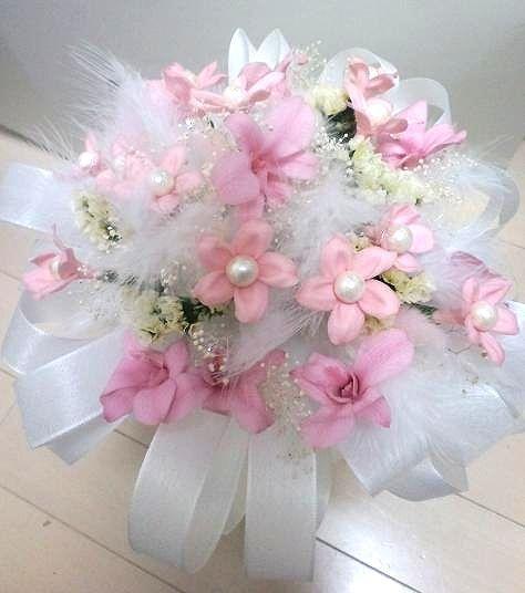 プリザーブドフラワー ギフトオーダー作品 ジャスミンとデンファレで作ったブーケ風花束♪
