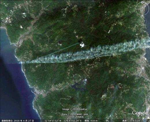 記録に残ったケムトレイル1 空には飛行機雲~喉には~龍角散?♪