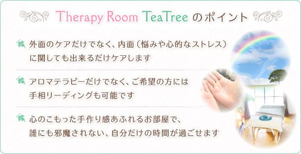 Therapy Room TeaTreeのポイント 外面のケアだけでなく、内面(悩みや心的なストレス) に関しても出来るだけケアします アロマテラピーだけでなく、ご希望の方には手相リーディングも可能です 心のこもった手作り感あふれるお部屋で、誰にも邪魔されない、自分だけの時間が過ごせます