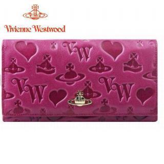 Vivienne Westwood ヴィヴィアンウエストウッド YORK 長財布 ピンク 財布全体に可愛いイニシャルロゴ、オーブ、ハートを型押しされた大胆なデザイン!艶のある革で、ゴールドのオーブロゴがキラリと輝き、シンプルで機能的なデザインが光ります。スタンダードで使いやすい小銭入れつき♪ギフトにも最適です!