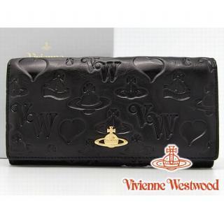 Vivienne Westwood ヴィヴィアンウエストウッド YORK 長財布 ブラック 財布全体に可愛いイニシャルロゴ、オーブ、ハートを型押しされた大胆なデザイン!艶のある革で、ゴールドのオーブロゴがキラリと輝き、シンプルで機能的なデザインが光ります。スタンダードで使いやすい小銭入れつき♪ギフトにも最適です!